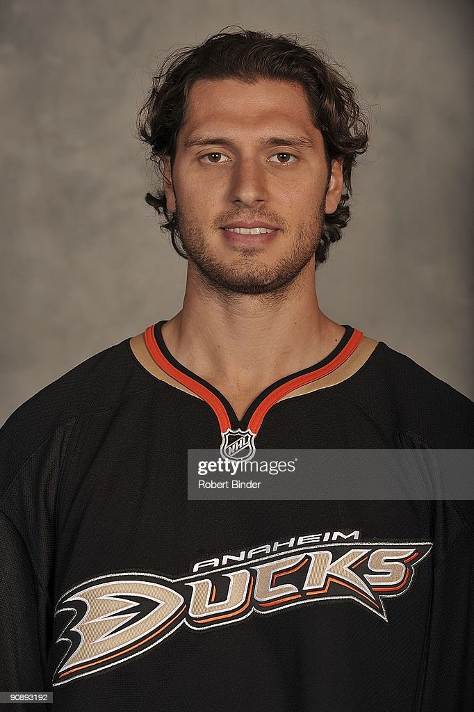 Steve Eminger of the Anaheim Ducks poses for his official headshot for the 20092010 NHL season