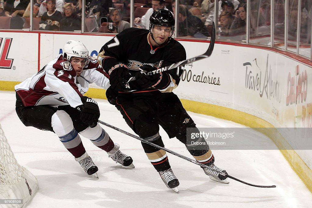 Steve Eminger of the Anaheim Ducks skates against Peter Budaj the Colorado Avalanche during the game on March 21 2010 at Honda Center in Anaheim...