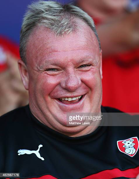 Steve Evans manager of Rotherham United looks on during the Pre Season Friendly match between Rotherham United and Nottingham Forest at The New York...