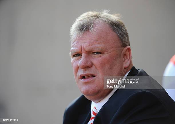 Steve Evans manager of Rotherham United looks on from the bench during the Sky Bet League One match between Rotherham United and Peterborough United...