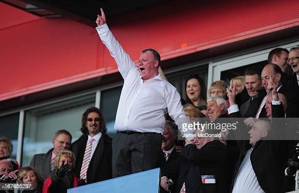 Steve Evans of Rotherham United celebrates promotion during the npower League Two match between Rotherham United and Aldershot Town at New York...