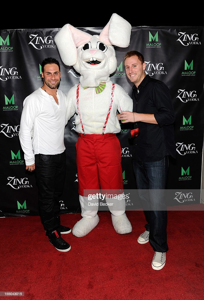 Steve Ferraro (L) and guests appear at the ZING Vodka's Las Vegas Launch Party at Sacramento Kings co-owner Gavin Maloof's home on October 30, 2012 in Las Vegas, Nevada.