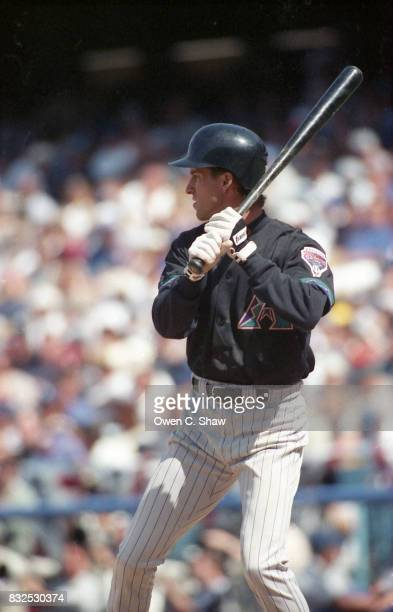 Steve Finley of the Arizona Diamondbacks bats against the Los Angeles Dodgers at Dodger Stadium circa 1999 in Los Angeles California