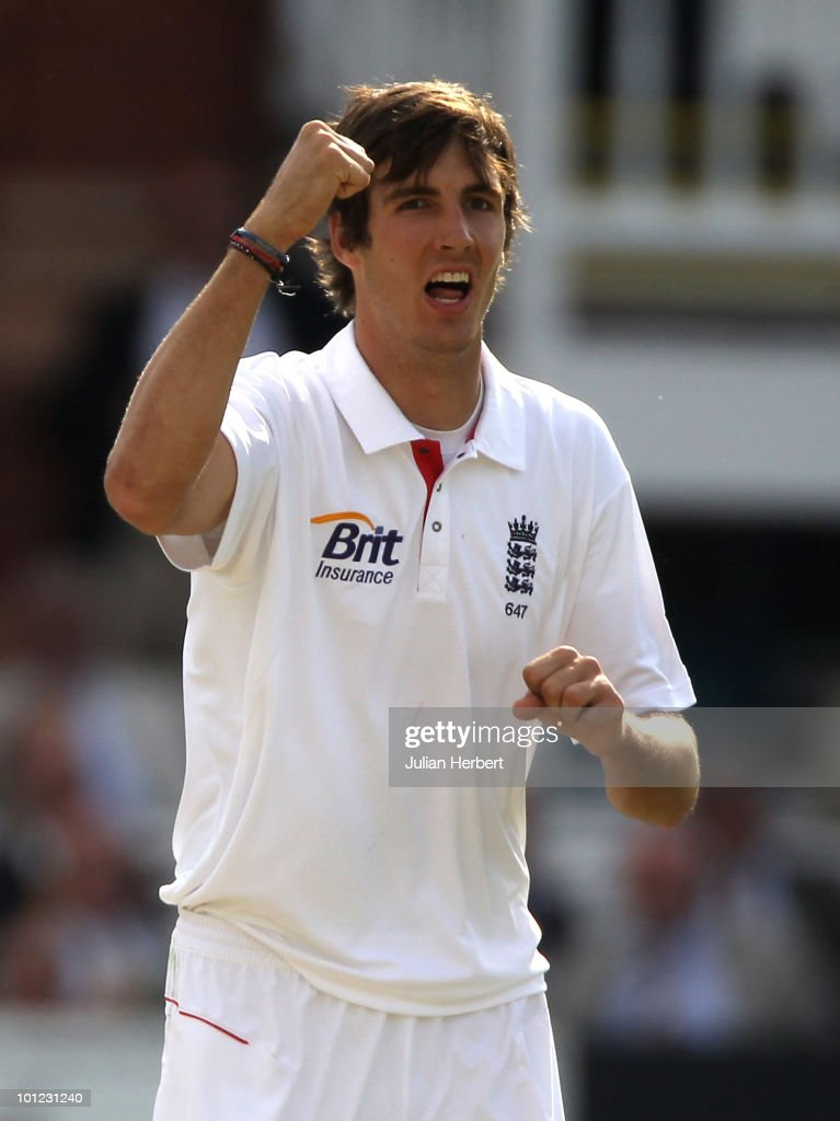 Steve Finn of England celebrates the dismissal of Imrul Kaye during day two of the 1st npower Test between England and Bangladesh played at Lords on May 28, 2010 in London, England.