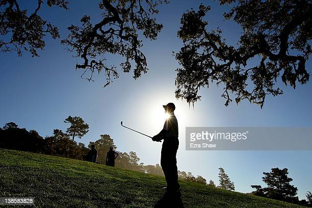 Steve Flesch watches his approach shot on the 14th hole during the first round of the ATT Pebble Beach National ProAm at Pebble Beach Golf Links on...
