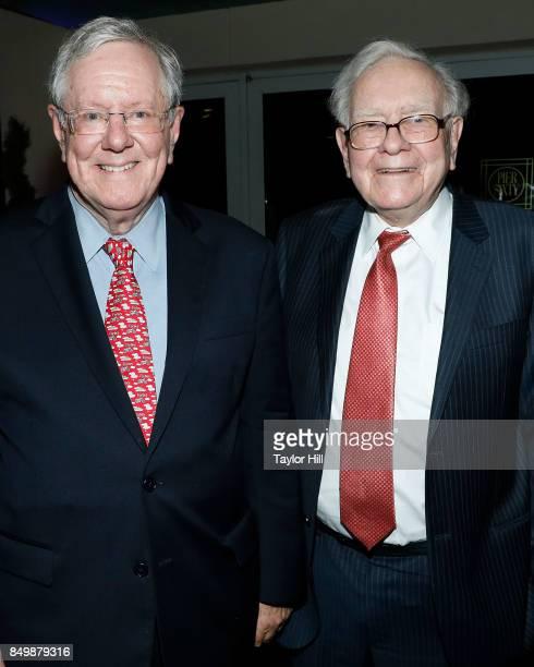 Steve Forbes and Warren Buffett attend the Forbes Media Centennial Celebration at Pier 60 on September 19 2017 in New York City