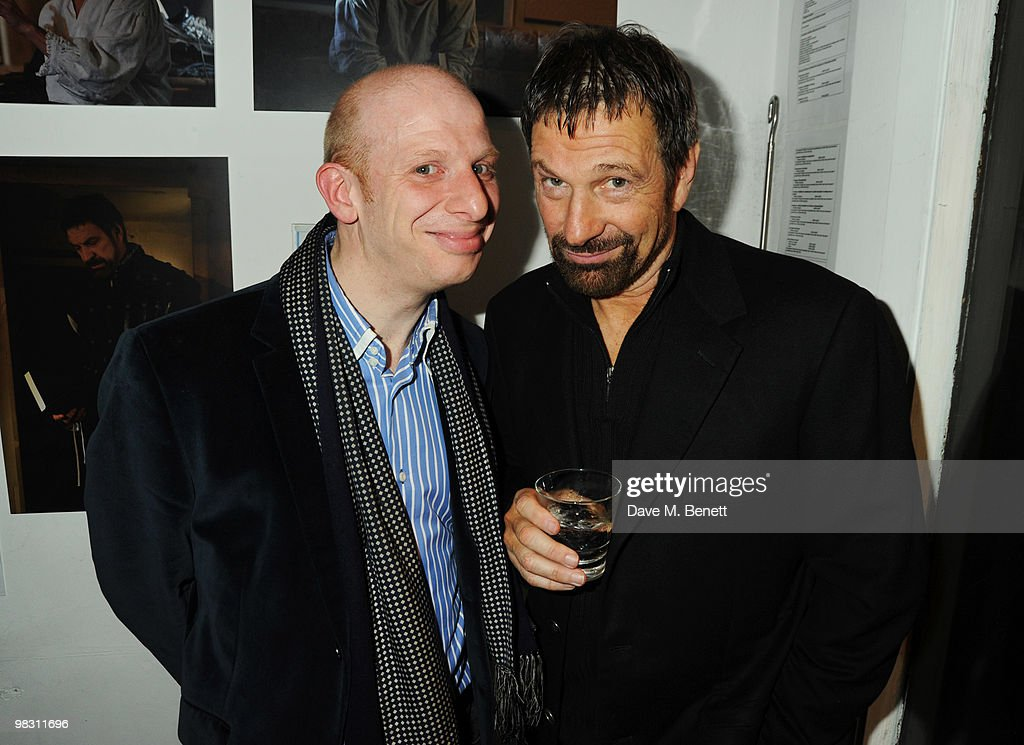 Steve Furst and <a gi-track='captionPersonalityLinkClicked' href=/galleries/search?phrase=Michael+Brandon&family=editorial&specificpeople=223866 ng-click='$event.stopPropagation()'>Michael Brandon</a> attend the press night of 'Wet Weather Cover', at the Arts Theatre on April 7, 2010 in London, England.