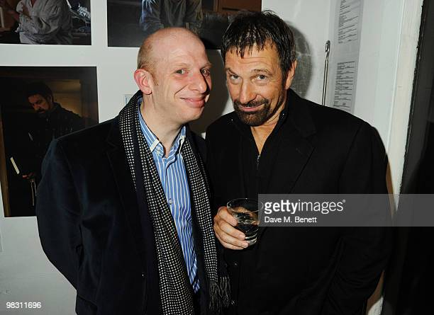 Steve Furst and Michael Brandon attend the press night of 'Wet Weather Cover' at the Arts Theatre on April 7 2010 in London England