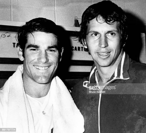 Steve Garvey and pitcher Don Sutton of the Los Angeles Dodgers smile and pose in the locker room after an MLB game circa 1974