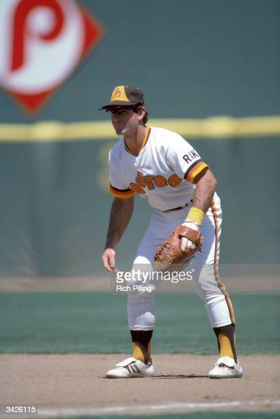 Steve Garvey of the San Diego Padres in the field during a 1984 season game at Jack Murphy Stadium in San Diego California