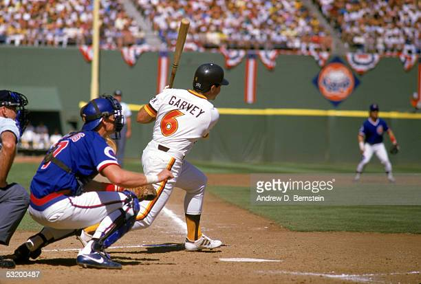 Steve Garvey of the San Diego Padres swings the bat during a game against the Chicago Cubs circa 19831987 at Jack Murphy Stadium in San Diego...