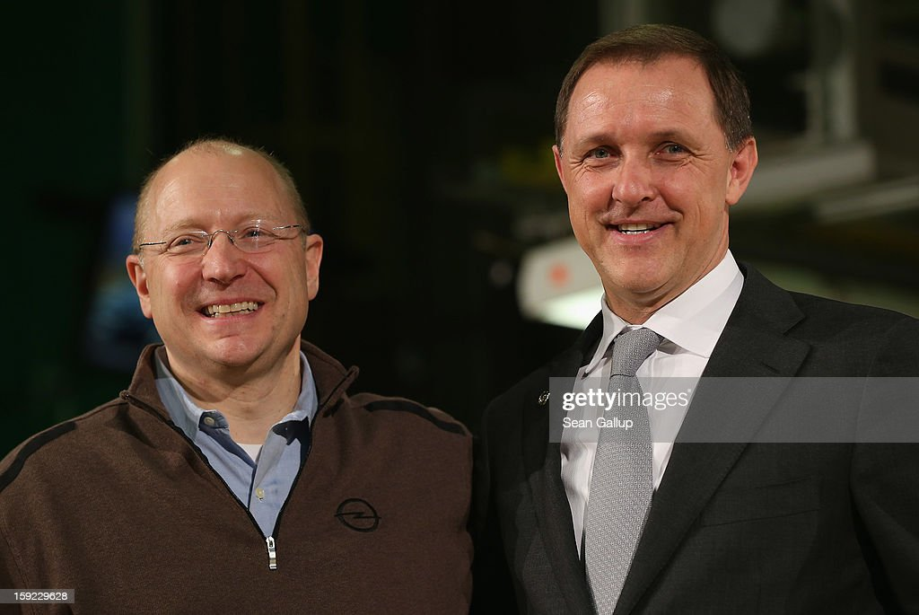 Steve Girsky (L), General Motors Vice Chairman and head of GM Europe, and Thomas Sedran, Deputy Chairman of Adam Opel AG, attend a celebration to mark the launch of the new Opel Adam compact car at the Opel factory on January 10, 2013 in Eisenach, Germany. Opel employees hope the car will help the compny return to profits after years of sagging sales and the announcement of the Bochum factory closure in 2016.