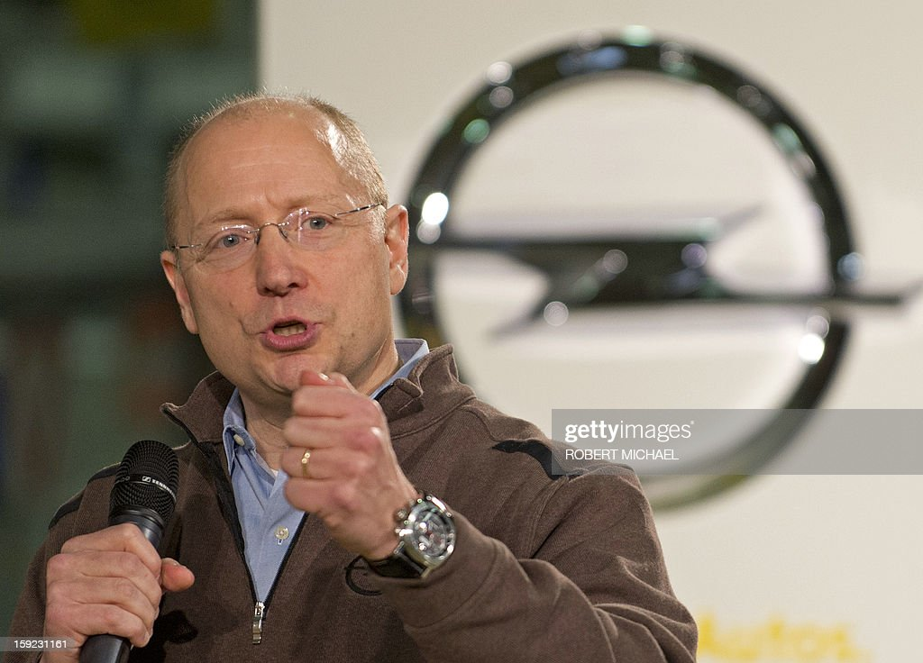 Steve Girsky, GM Vice Chairman, interim President of GM Europe and Chairman of the Opel Supervisory Board, gestures as he speaks during the opening ceremony for the Opel Adam production at the Opel plant in Eisenach, eastern Germany on January 10, 2013. The new Opel model will be produced as of January 10, 2013 at the Eisenach Opel plant and is intended to attract young automobile drivers in cities. Opel has already received 16 000 orders for the Adam.