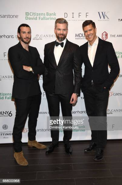 Steve Gold Ryan Serhant and Fredrik Eklund attend the Million Dollar Listing New York Season 6 Premiere Party at Marquee on May 24 2017 in New York...