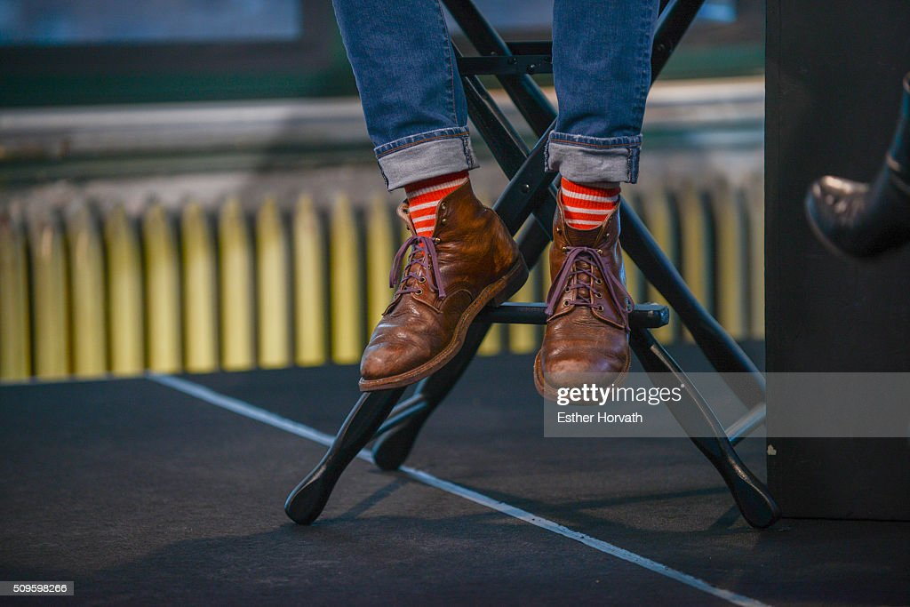 Steve Goldbloom, shoe detail, as he visits the AOL Studios In New York on February 11, 2016 in New York City.