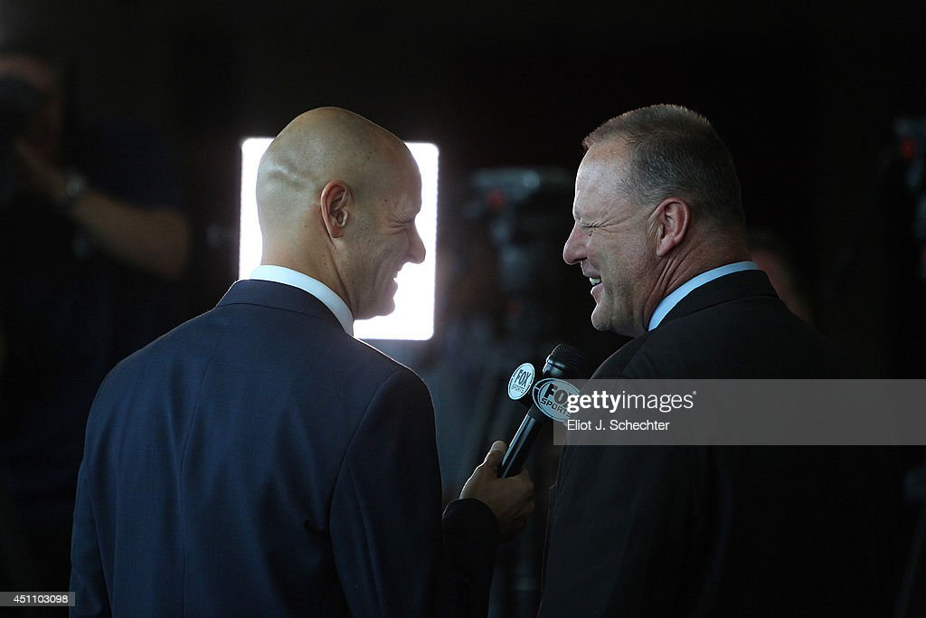 Steve Goldstein of Fox Sports Florida chats on air with new Florida Panthers Head Coach Gerard Gallant at the BB&T Center on June 23, 2014 in Sunrise, Florida.