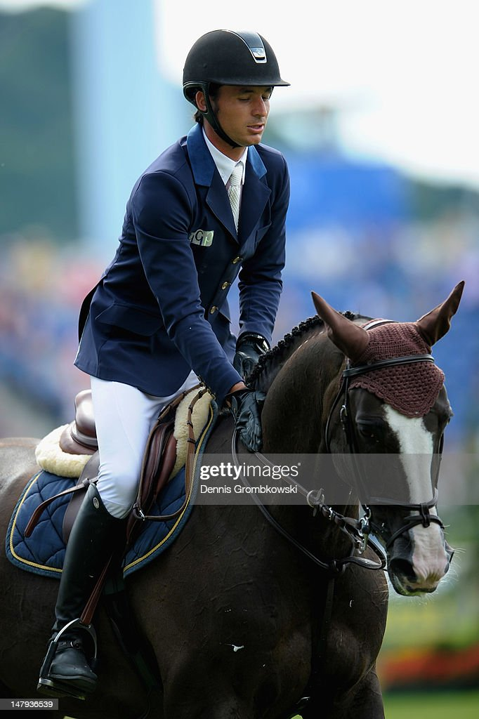Steve Guerdat of Suisse and his horse Ferrari 111 compete in the RWE Prize of North-Rhine-Westphalia jumping competition during day four of the 2012 CHIO Aachen tournament on July 6, 2012 in Aachen, Germany.