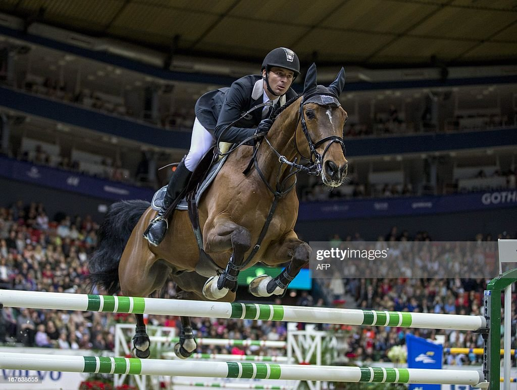 Steve Guerdat of Switzerland rides Nino des Buissonnets at the Rolex FEI World Cup Jumping final Friday April 26, 2013 during the Gothenburg Horse Show in Scandinavium.