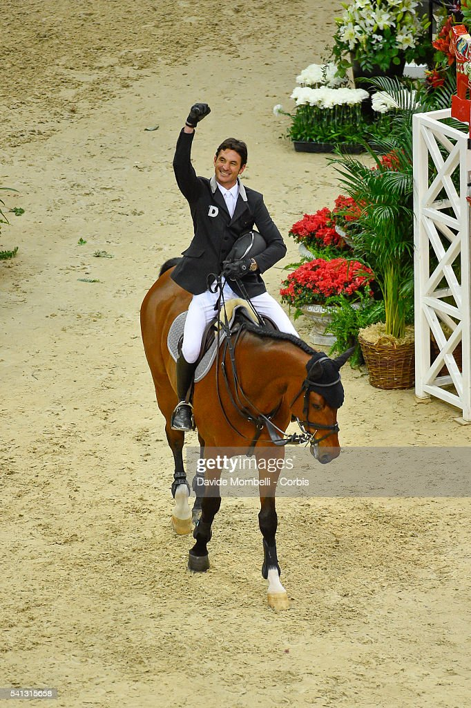 <a gi-track='captionPersonalityLinkClicked' href=/galleries/search?phrase=Steve+Guerdat&family=editorial&specificpeople=2304249 ng-click='$event.stopPropagation()'>Steve Guerdat</a> of Switzerland riding Corbinian, celebrates victory in the Longines FEI World Cup Jumping Final event of the Gothenburg Horse Show at Scandinavium Arena on March 28, 2016 in Gothenburg, Sweden.