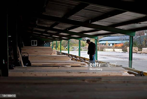Steve Guthrie woodlands manager for Nicolet Hardwood Corp looks over stacks of hard maple lumber at the Nicolet Hardwoods Corp lumber mill in Laona...