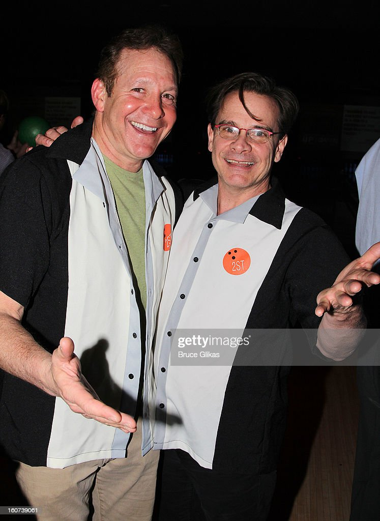 Steve Guttenberg and Peter Scolari pose at Second Stage Theatre's 26th Annual All-Star Bowling Classic at Lucky Strike on February 4, 2013 in New York City.