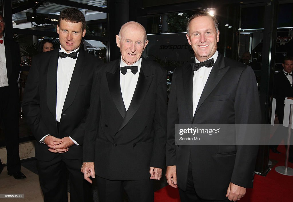 Steve Hall, CEO of the Halberg Trust (L), Sir Murray Halberg and New Zealand Prime Minister <a gi-track='captionPersonalityLinkClicked' href=/galleries/search?phrase=John+Key&family=editorial&specificpeople=2246670 ng-click='$event.stopPropagation()'>John Key</a> arrive for the 2012 Halberg Awards at Sky City Convention Centre on February 9, 2012 in Auckland, New Zealand.