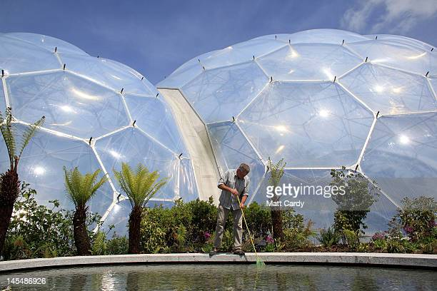 Steve Hankin landscape maintenance technician makes finishing touches to the 'The Sense of Memory Garden' at the Eden Project on May 31 2012 near St...