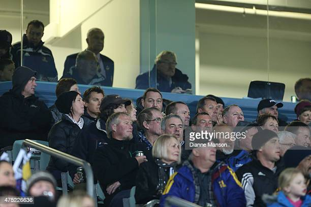Steve Hansen coach of the All Blacks sits in the crowd during the round 16 Super Rugby match between the Highlanders and the Chiefs at Rugby Park...