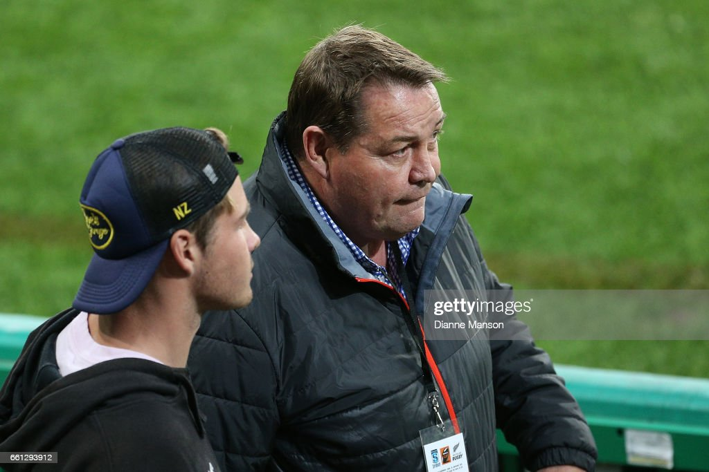 Steve Hansen, coach of the New Zealand All Blacks looks on during the round six Super Rugby match between the Highlanders and the Rebels at Forsyth Barr Stadium on March 31, 2017 in Dunedin, New Zealand.