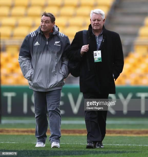 Steve Hansen the All Black head coach talks to NZR CEO Steve Tew during the New Zealand All Blacks Captain's Run at Westpac Stadium on June 30 2017...