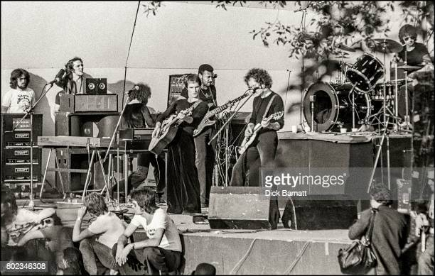 Steve Harley and Cockney Rebel performing on stage at Crystal Palace Garden Party London 7th June 1975