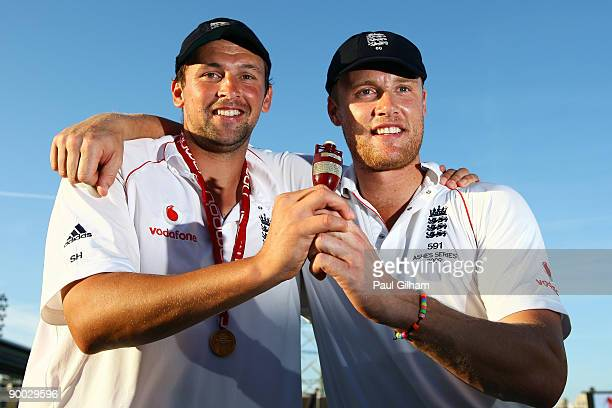 Steve Harmison and Andrew Flintoff of England lift the Ashes Urn after winning the npower 5th Ashes Test Match between England and Australia at The...