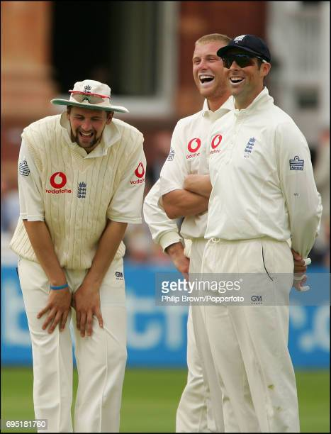 Steve Harmison Andrew Flintoff and Marcus Trescothick of England laugh loudly after watching the replay of Mohammd Ashraful's dismissal lbw to Andrew...
