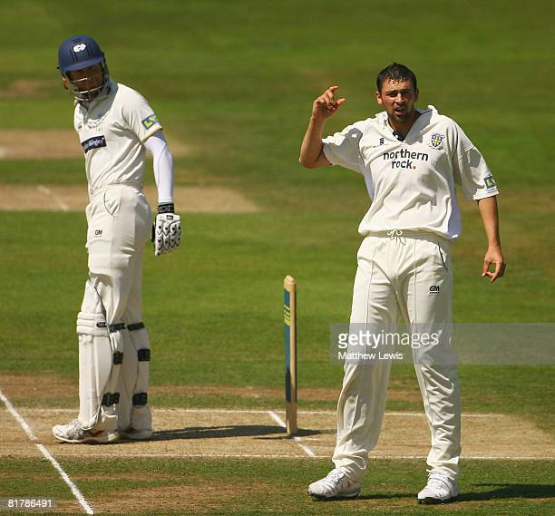 Steve Harmison of Durham appeals for the wicket of Michael Vaughan of Yorkshire during the third day of Liverpool and Victoria County Championship...