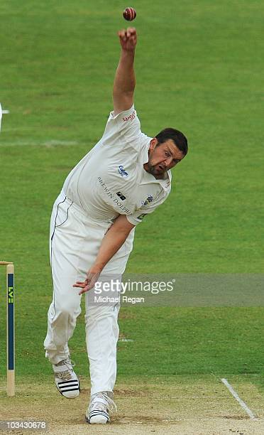 Steve Harmison of Durham bowls during day 3 of the LV County Championship Division One match between Durham and Yorkshire at The Riverside on August...