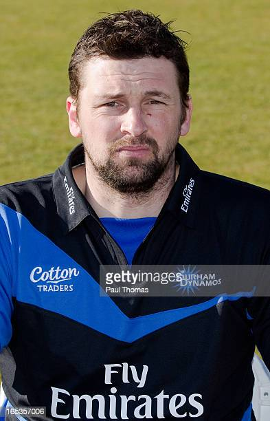 Steve Harmison of Durham CCC wears the FriendsLife T20 kit during a preseason photocall at The Riverside on April 3 2013 in ChesterleStreet England