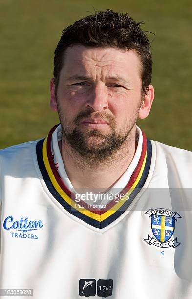 Steve Harmison of Durham CCC wears the LV= County Championship kit during a preseason photocall at The Riverside on April 3 2013 in ChesterleStreet...