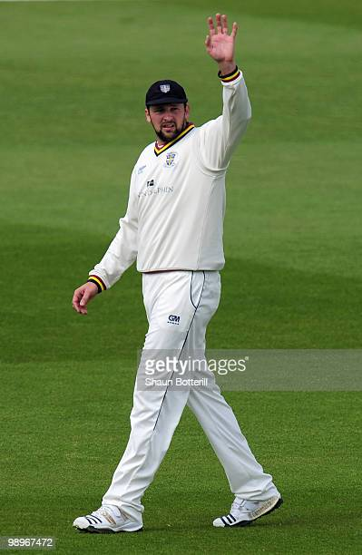 Steve Harmison of Durham signals to the dressing room the field during the LV County Championship match between Nottinghamshire and Durham at Trent...