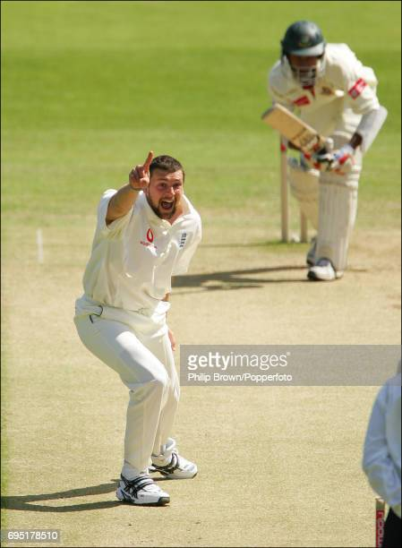 Steve Harmison of England appeals unsuccessfully for a hat trick against Anwar Hossain of Bangladesh during the 1st Test match against Bangladesh at...