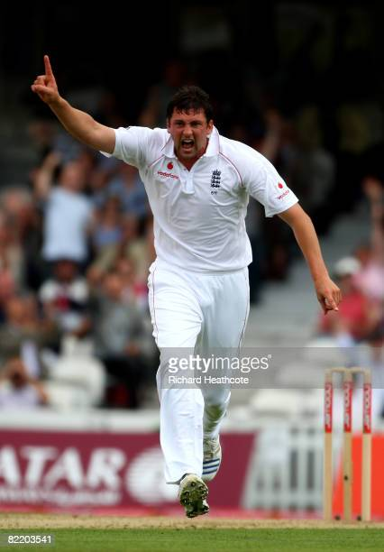 Steve Harmison of England celebrates taking the wicket of Hashim Amla during the first day of the 4th npower Test Match between England and South...