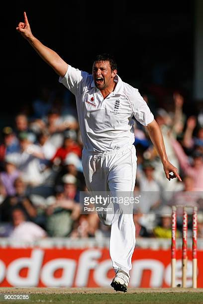 Steve Harmison of England celebrates taking the wicket of Stuart Clark of Australia during day four of the npower 5th Ashes Test Match between...