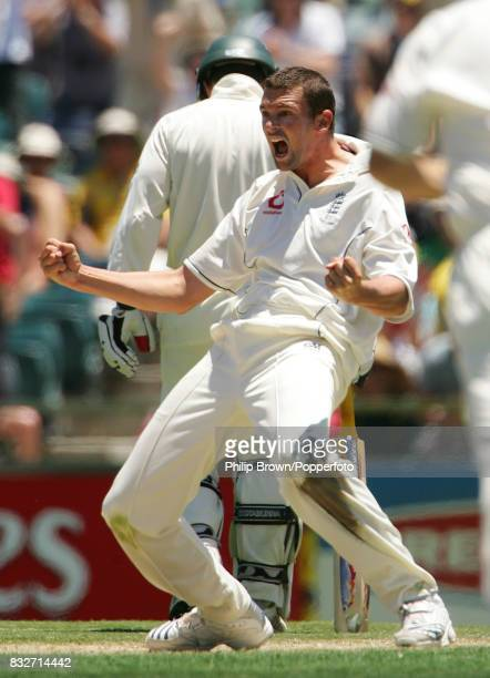Steve Harmison of England celebrates the wicket of Australia's Ricky Ponting on day one of the 3rd Test match between Australia and England at the...