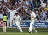 Steve Harmison of England celebrates the wicket of Michael Kasprowicz of Australia with Andrew Strauss of England during day four of the Second...