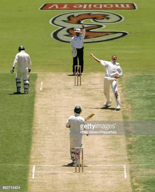 Steve Harmison of England traps Ricky Ponting of Australia LBW for 2 runs on day one of the 3rd Test match between Australia and England at the WACA...