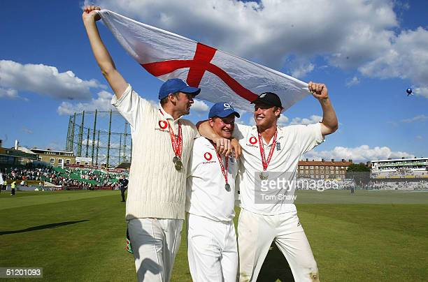 Steve Harmison Robert Key and Andrew Flintoff of England celebrate after a winning the test series 40 after day 3 of the 4th npower test match...