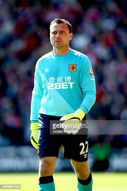 Steve Harper of Hull City looks on during the Premier League match between Southampton and Hull City at St Mary's Stadium on April 11 2015 in...