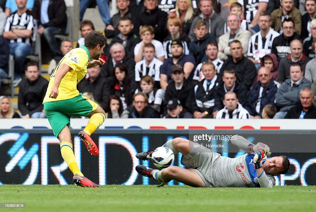 Steve Harper (R) of Newcastle United makes a save with his legs to deny Andrew Surman of Norwich during the Barclays Premier League match between Newcastle United and Norwich City at Sports Direct Arena on September 23, 2012, in Newcastle upon Tyne, England.