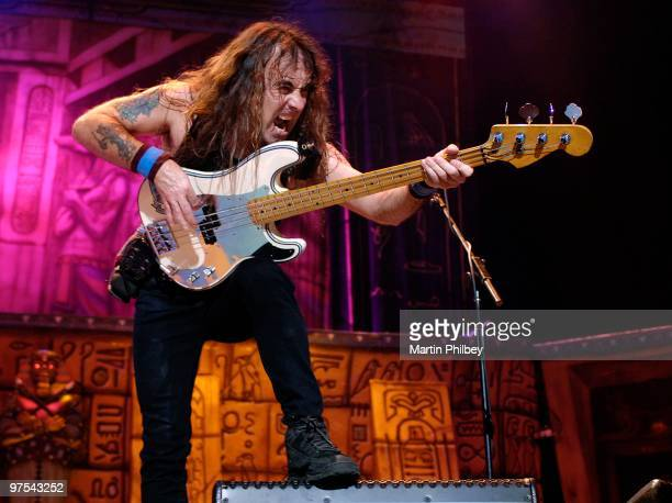 Steve Harris of Iron Maiden performs on stage at the Rod Laver Arena on 6th Feb 2008 in Melbourne Australia
