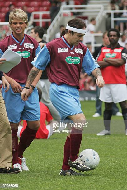 Steve Harris of Iron Maiden takes part in the London edition of the annual fundraising tournament 'Music Industry Soccer Six' at West Ham's Boleyn...
