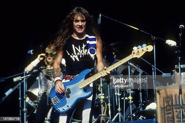 Steve Harris performs with 'Iron Maiden' at Cal Expo in Sacramento California on June 28 1990